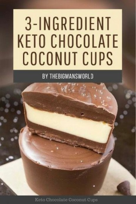 3-Ingredient Keto Chocolate Coconut Cups