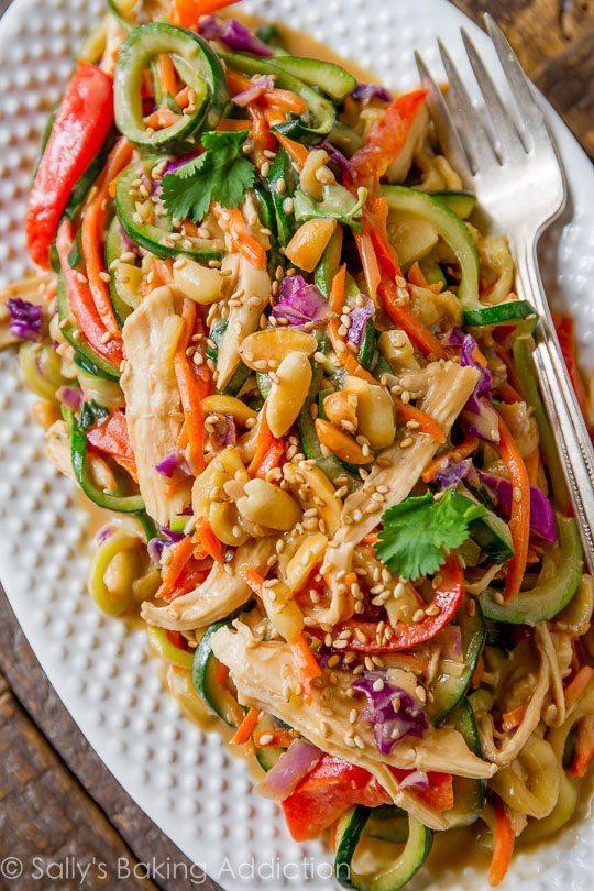 Peanut Chicken Zucchini Noodles